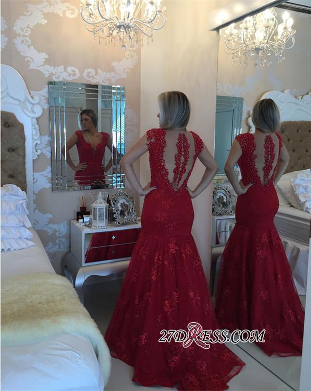 Mermaid Delicate V-neck Red Pearls Lace Cap-Sleeve Prom Dress