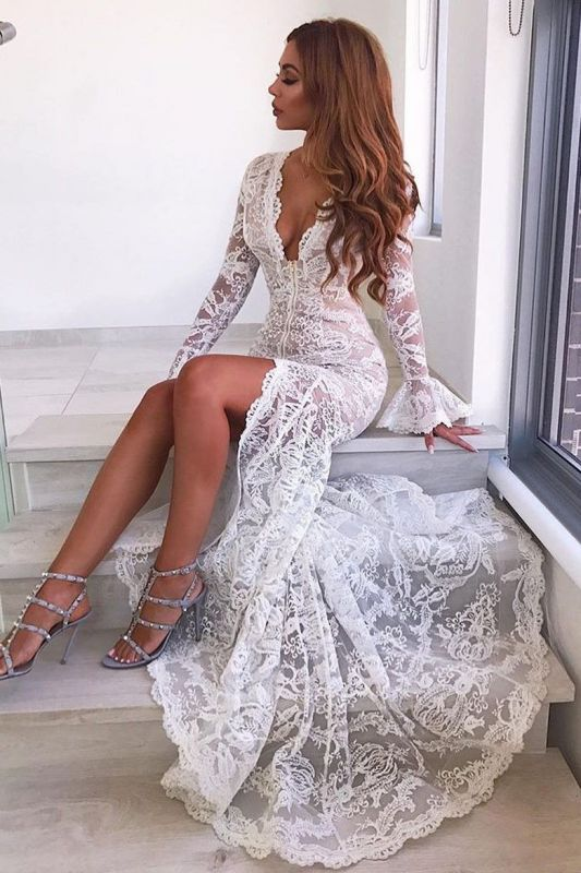 Sexy Long Sleeve V-Neck Prom Dress | 2020 Lace Evening Party Dress With Slit