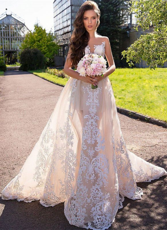 Chic Sleeveless Lace Wedding Dresses | 2020 Long Tulle Ruffles Wedding Gowns BC1777