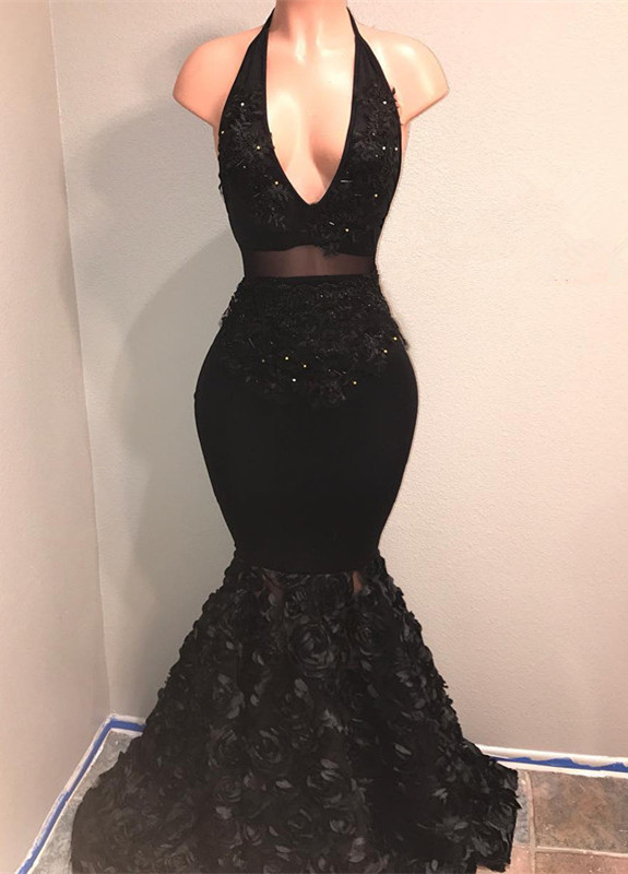 Black V-Neck 2020 Prom Dress | Mermaid Evening Gown With Flowers Bottom BA9153