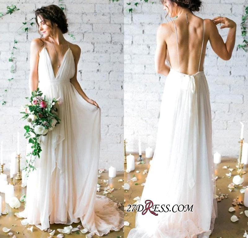 V-Neck Beach Chiffon Sleeveless Long Elegant Wedding Dress