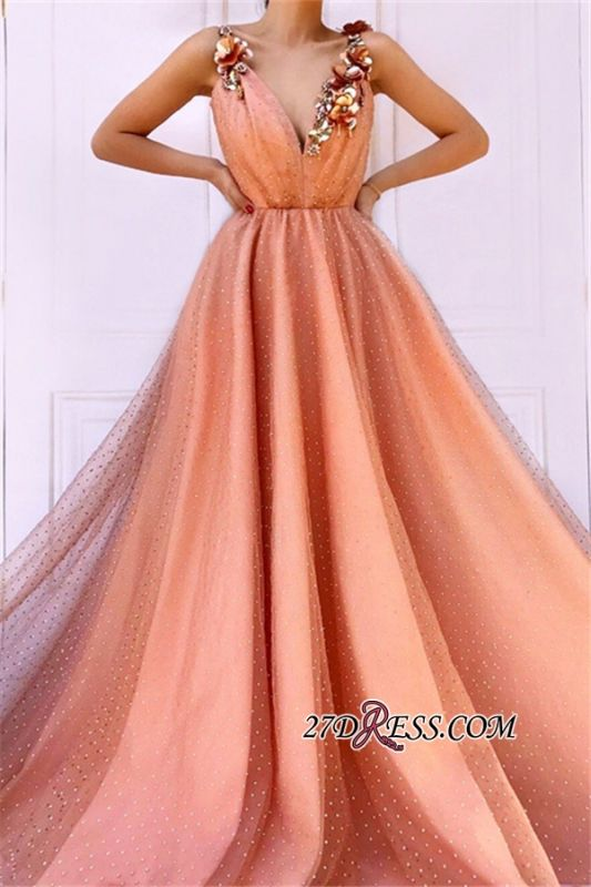 Orange Flower Appliques A-Line Prom Dress | Straps Sleeveless Tulle Evening Gown