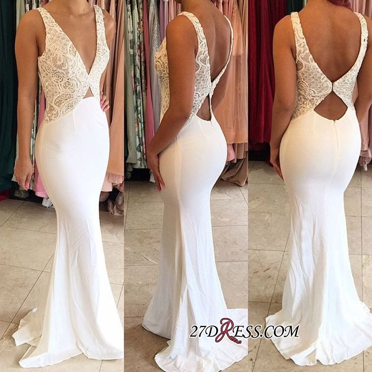 Sexy Deep-V-Neck Sleeveless Open-Back Mermaid New-Arrival Evening Dresses
