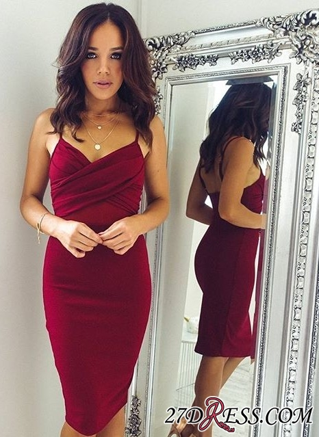 Knee-Length Burgundy Sheath Spaghettis-Straps Sexy Tight Homecoming Dresses BC0465