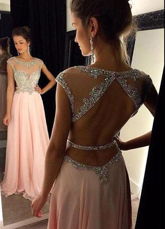 Gorgeous Scoop Long Chiffon Prom Dress 2020 Crystals Open Back AP0