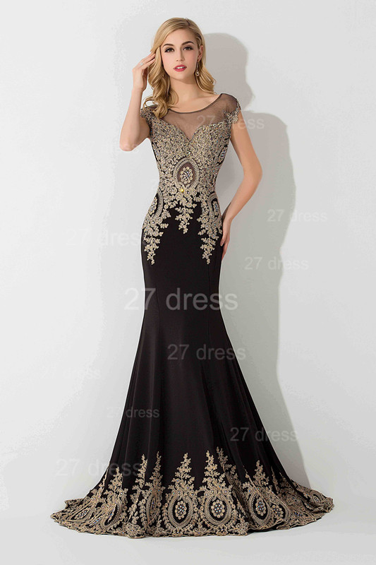 Sexy Lace Appliques Mermaid Evening Dress Sweep Train
