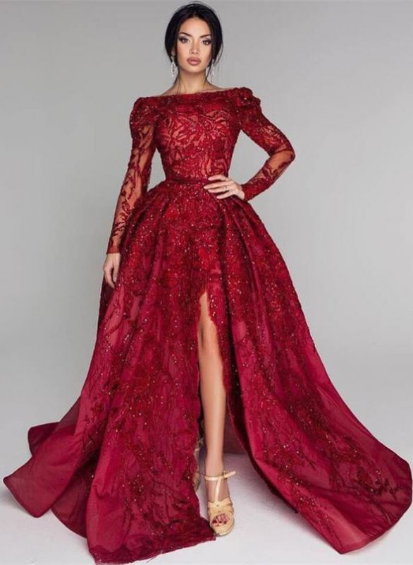 Glamorous Long Sleeve Lace Prom Dress | 2020 Split Puffy Open-Back Evening Gowns BC0652