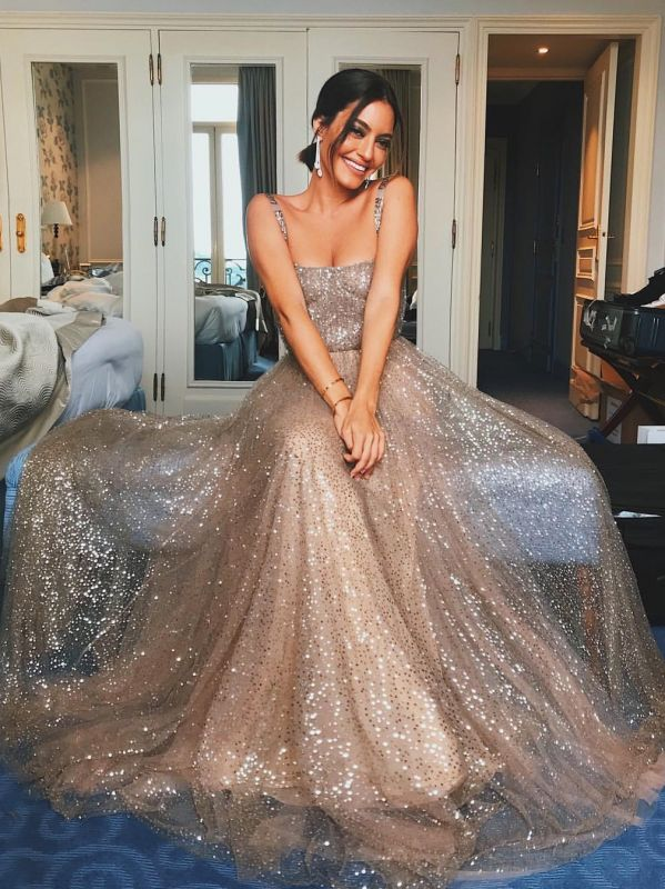 Sparkly Sequins A-Line Prom Dresses | Spaghetti Straps Long Evening Dresses