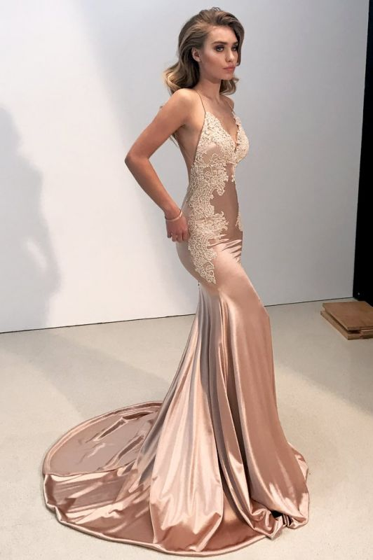 V-neck Backless Lace Prom Dress | 2020 Mermaid Long Evening Gowns BA8287