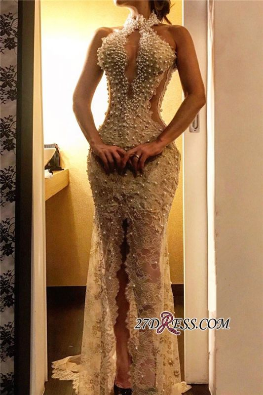 Sheath Lace Front-slit Halter pearls Long Prom Dress