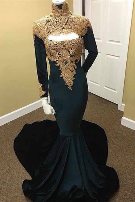 Long Sleeve High Neck Prom Dress | 2020 Mermaid Evening Dress With Appliques
