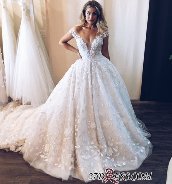 Elegant Floral Ball Gown Wedding Dresses | Off The Shoulder Appliques Bridal Gowns