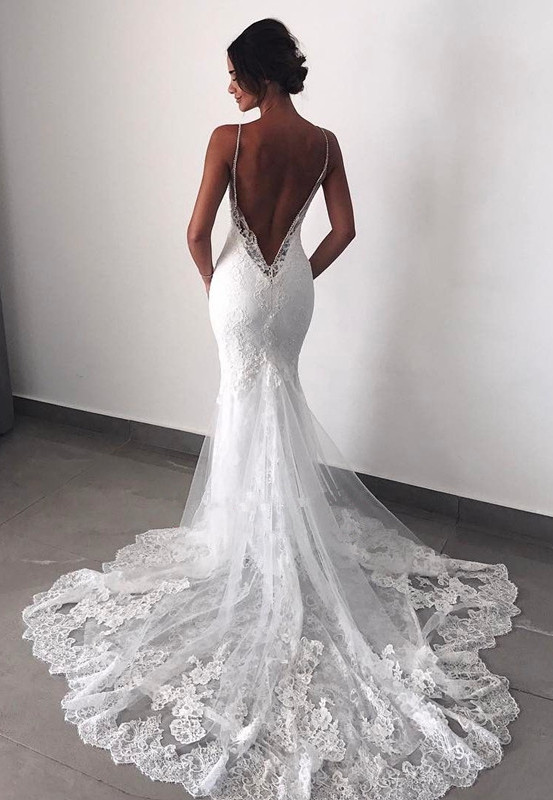 Charming Backless Lace Wedding Dress | 2020 Mermaid Bridal Gowns BC0129
