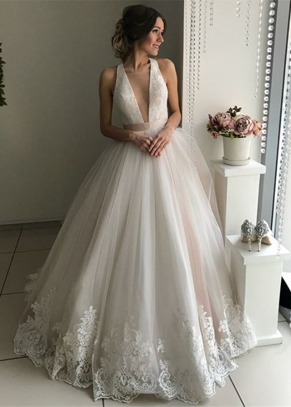 Gorgeous V-Neck Sleeveless Wedding Dresses | Lace 2020 Bridal Gowns