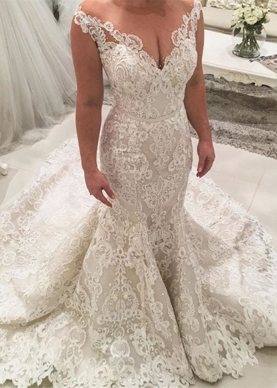 Charming Sleeveless Mermaid Lace Wedding Dresses | 2020 Long Bridal Gowns On Sale