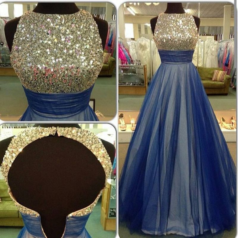 Beautiful Sequins Sleeveless Evening Dress 2020 A-Line Tulle Prom Gowns