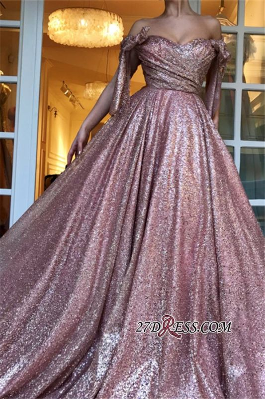 Off-The-Shoulder Sequins Evening Dress | Glamorous Sleeveless A-Line Prom Gown