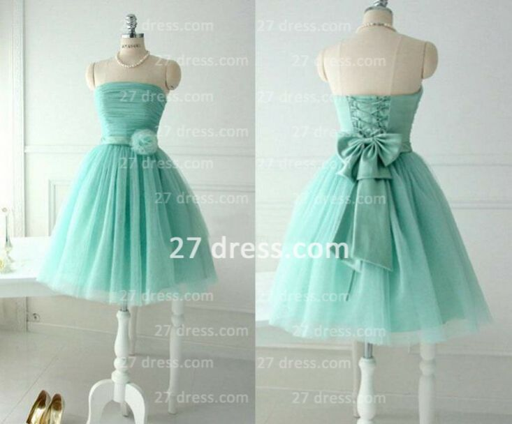 Lace-up Sleeveless Prom Dresses Gowns Bow Flower Knee-length Ruffles Strapless Wedingparty
