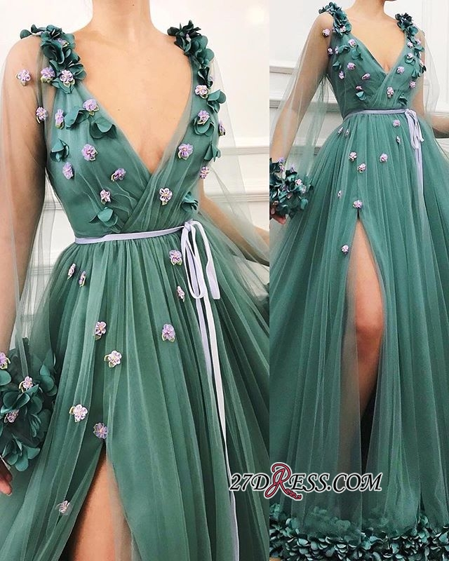 Green Long-Sleeves A-Line Prom Gown | Gorgeous Side-Slit V-Neck Tulle Long Prom Dress