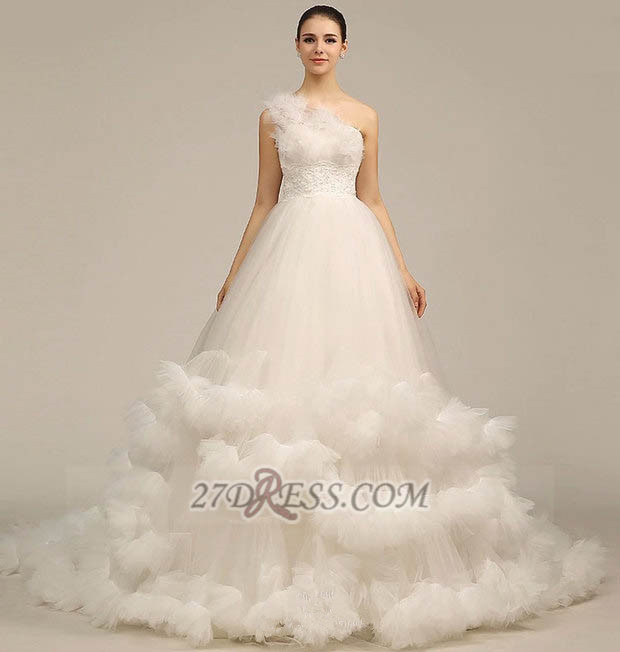 One Shoulder Sweetheart Tulle Wedding Dress Floor Length With Ruffles Princess Bridal Gowns