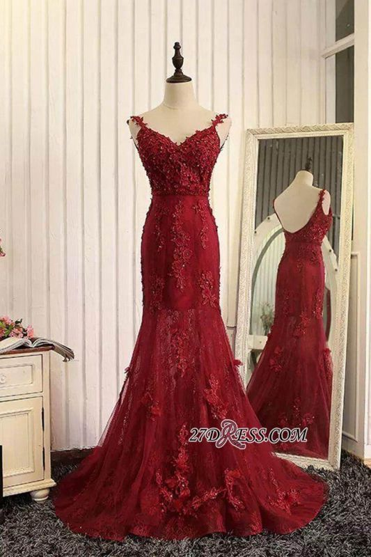 Lace Prom Burgundy Tulle Backless Mermaid Appliques Dresses 2020 Evening Gown