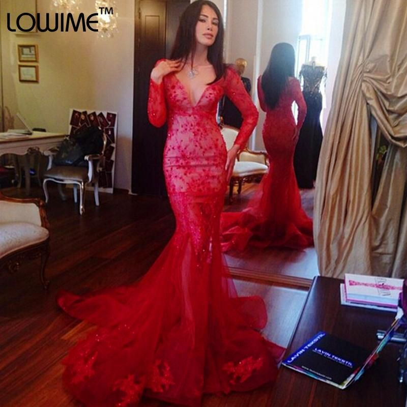 Glamorous V-neck Red Mermaid Prom Dress Long Sleeve With Lace Appliques