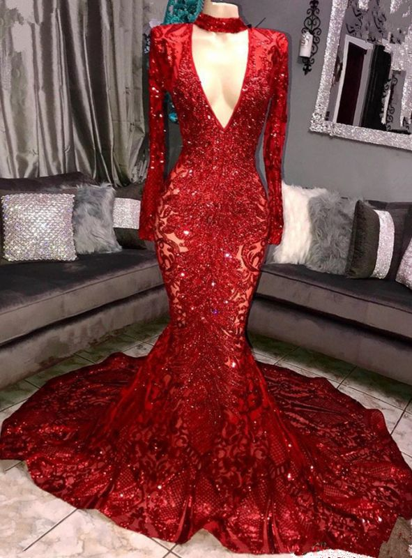 Sexy Long Sleeve 2020 Prom Dresses   Sequins Mermaid Evening Gowns On Sale BC0842