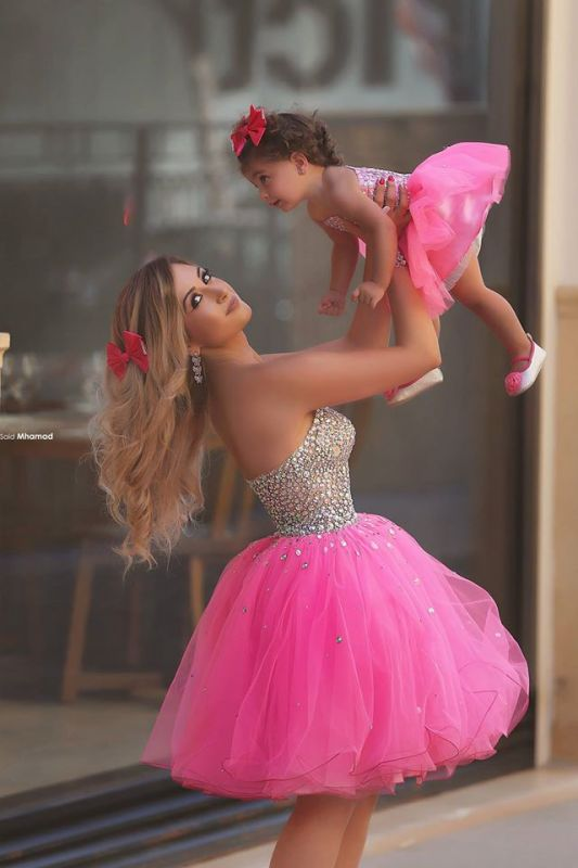 Glamorous Sequins Tulle Short Mother And Daughter Dress 2020 Sweetheart BA3116