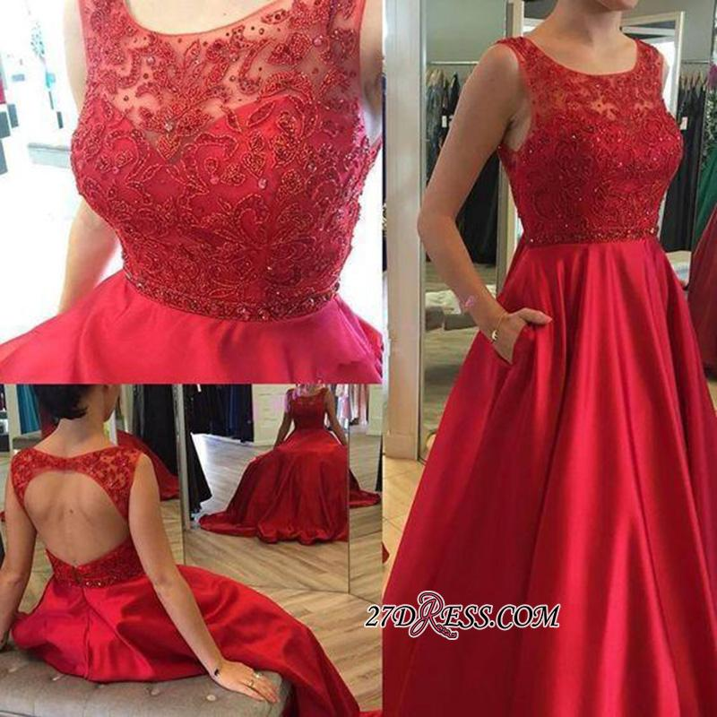 Open-Back A-Line Ruby Elegant Sleeveless Applique Long Prom Dresses