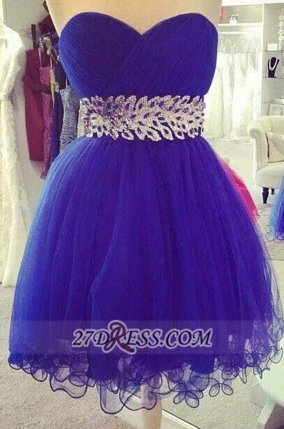 Sexy Sweetheart Sleeveless Short Homecoming Dress Zipper Beadings Crystals Cocktail Gown