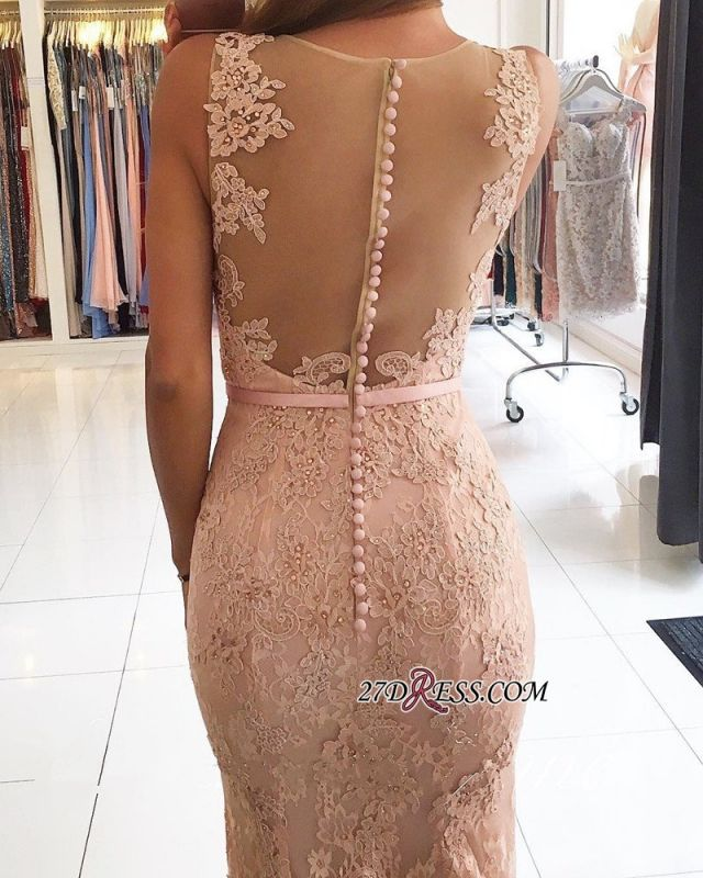 Mermaid Long Lace Sexy Pink Evening Dresses BH354