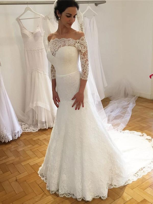 Attractive Bateau 3/4 Sleeves Lace Wedding Dress | Empire Court Train Bridal Gowns