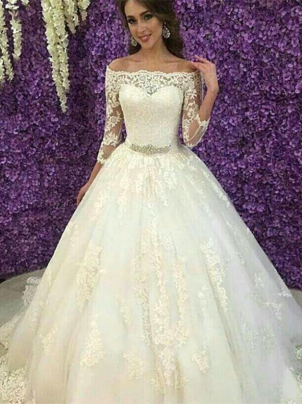 Princess Off-the-Shoulder Long Sleeve Wedding Dress 2020 Lace Tulle