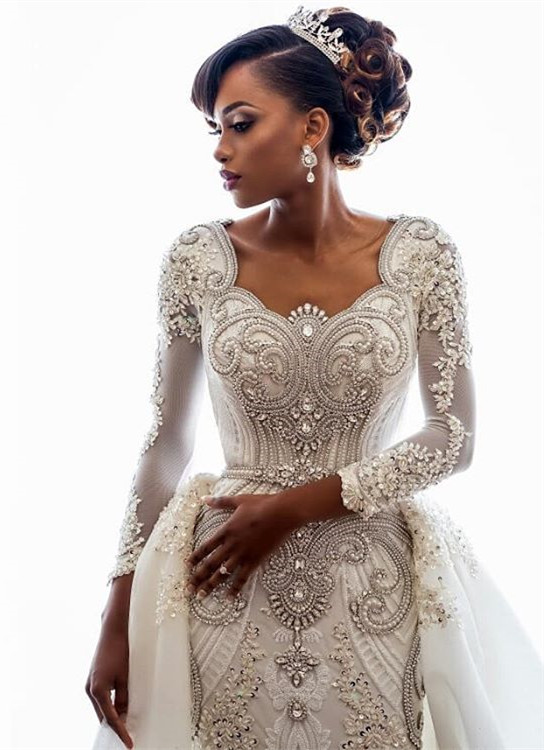 Gorgeous Long Sleeve Crystal 2020 Wedding Dresses | Mermaid Overskirt Lace Bridal Gowns BC0543