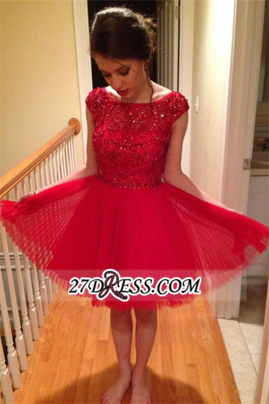 Short Crystal Red A-Line Cap-Sleeves Homecoming Dress BA3582