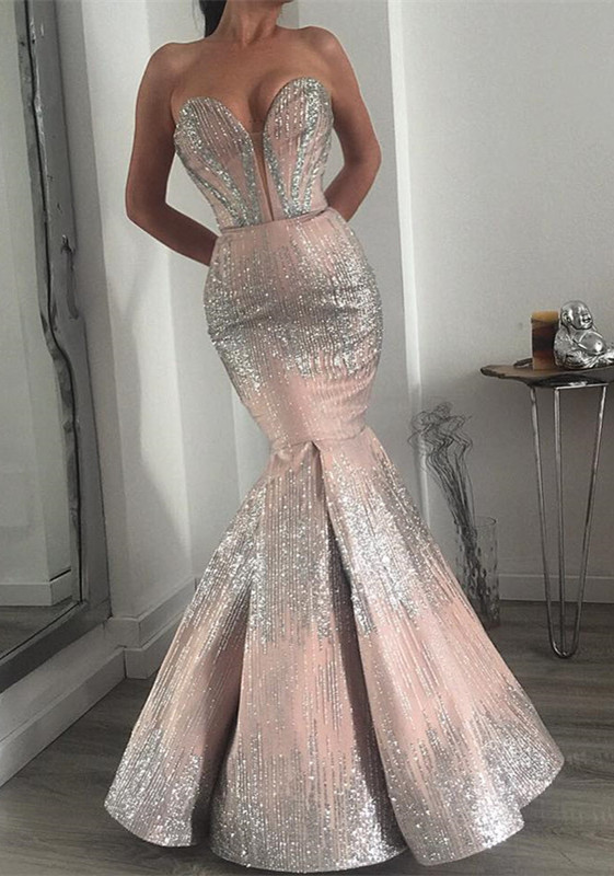 Glamorous Sweetheart Mermaid Prom Dress | 2020 Long Sequins Evening Gowns BC0358