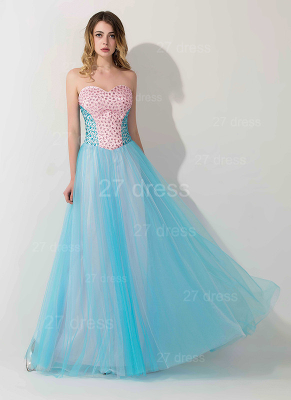 Elegant Sweetheart A-line Crystals Evening Dress Floor-length Sleeveless