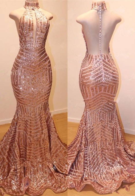 Glamorous High-Neck Sleeveless Sequins Prom Dresses | 2020 Mermaid Long Sequins Evening Gowns BC0904