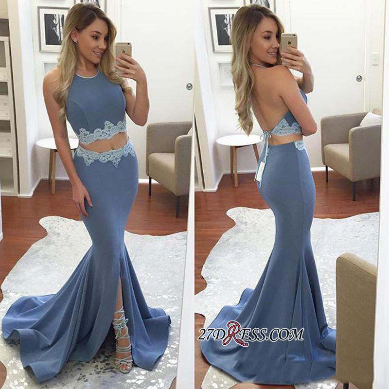 Sexy Halter Front-Split Mermaid Backless Two-Pieces Appliques Prom Dress BA4779