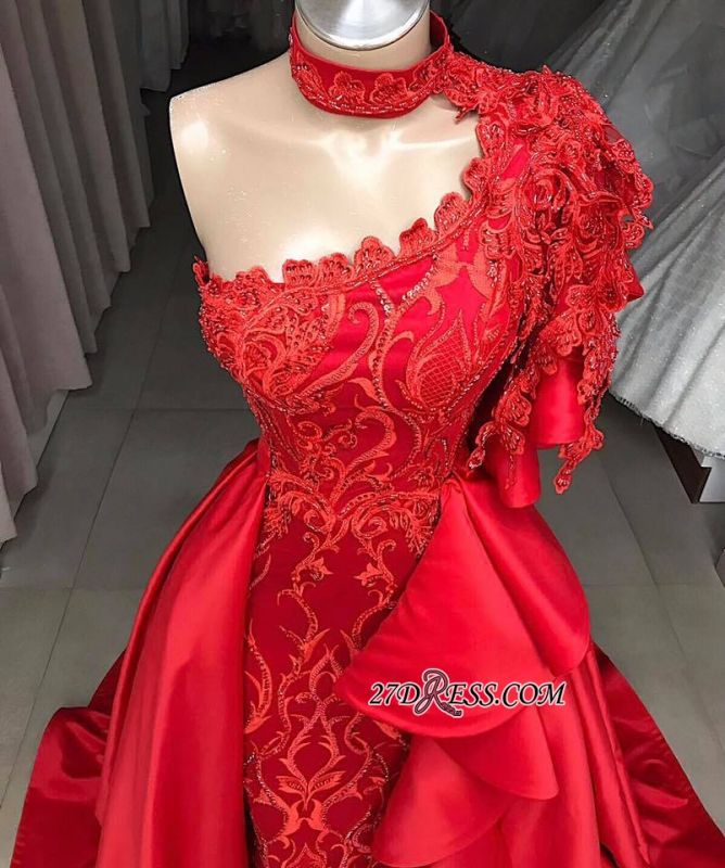 High Mermaid Neck Overskirts One-Shoulder Gorgeous Prom Gowns
