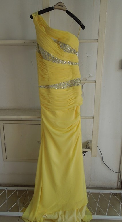 New Elegant Yellow Evening Dresses One Shoulder Long Beading Chiffon Prom gowns