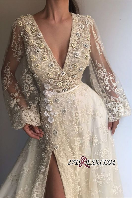 Long-Sleeves Lace Applique Prom Dresses | Sexy Side-Slit V-Neck A-line Prom Gown