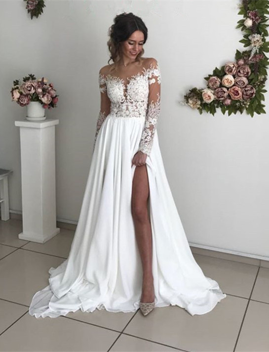 Glamorous Long Sleeve Lace Wedding Dresses | 2020 Chiffon Bridal Gowns With Slit BC0012