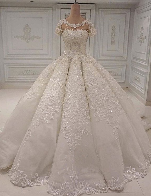 New Arrival Crew Short Sleeves Wedding Gown   2020 Lace Appliques Bridal Dress On Sale