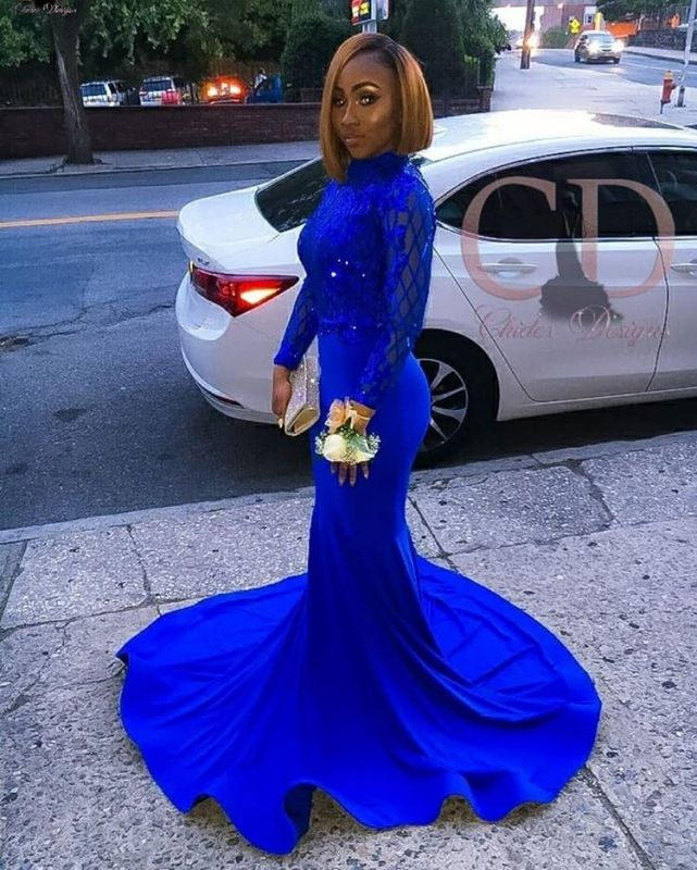 Charming Long Sleeves Royal Blue Prom Dress | Mermaid Sequin Evening Gowns With Zipper BC1063