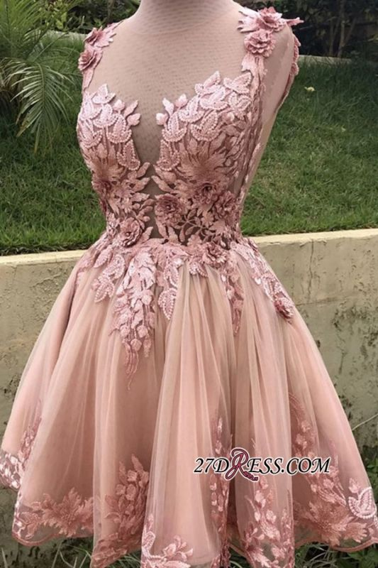 Applique Cute A-line Sleeveless Short Scoop Homecoming Dresses