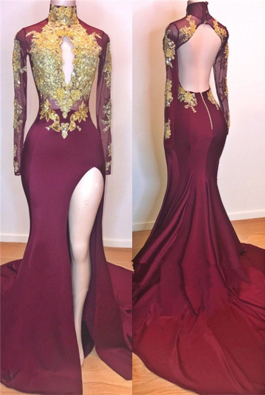 Glamorous Burgundy Long Sleeve Prom Dresses | 2020 Mermaid Slit Gold Appliques Evening Gowns BC0956