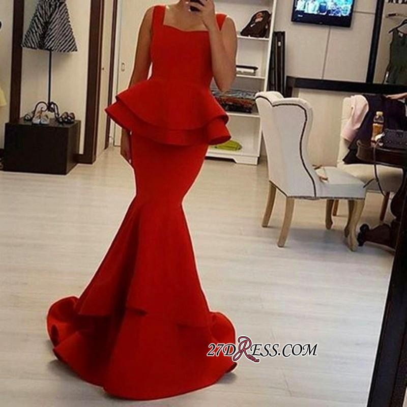 2020 Straps Square Sexy Ruffles Mermaid Red Prom Dress BA4149