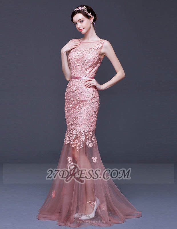 Gorgeous Beadings Appliques Mermaid Prom Dress Lace-Up Sleeveless Evening Gowns