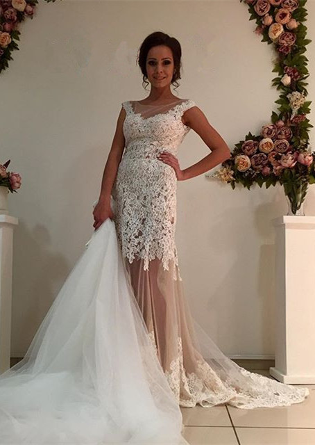 Gorgeous Lace Tulle 2020 Wedding Dress Removal Train Cap Sleeve Illusion
